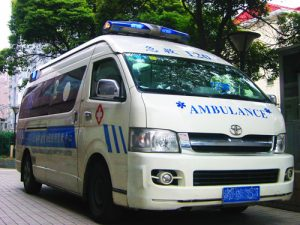 Ambulance in front of the student elective ER of the Shanghai East Hospital
