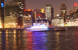 Der Huang-Pu Fluss in Shanghai